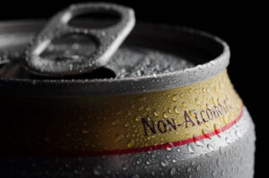 Aluminum can of non-alcoholic beer.