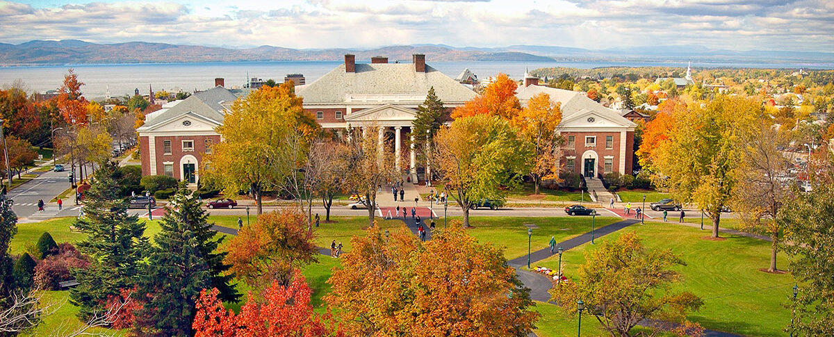 UVM campus in the fall looking towards the lake