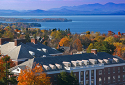 View of lake Champlain and the Adirondacks from Burlington Vermont