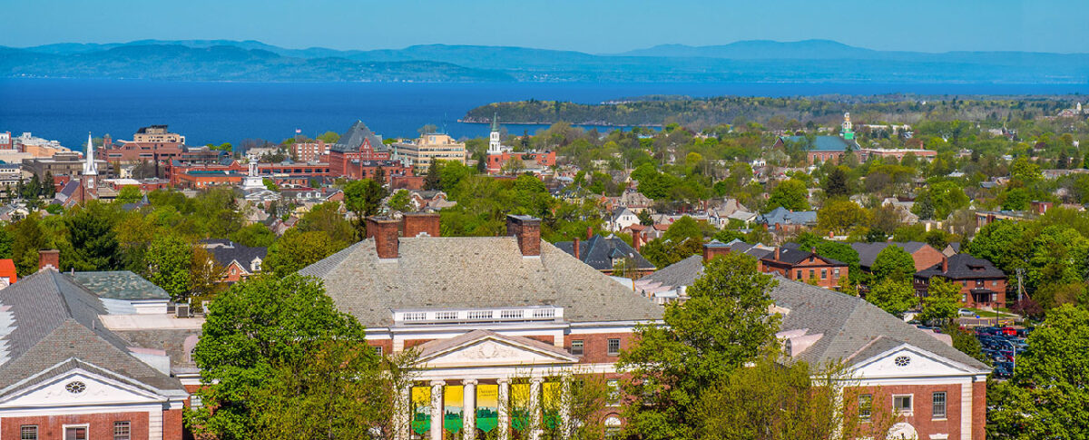 Burlington, Vermont view of UVM campus and Lake Champlain
