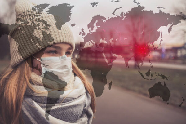 Graphic with a masked woman and a map of the world
