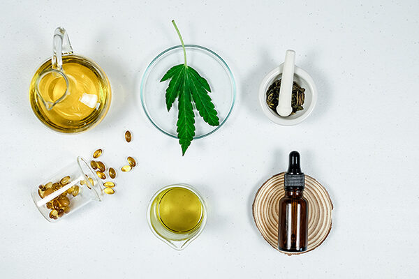 cbd thc oil medical treatment in doctor laboratory. natural medicine on clinical research