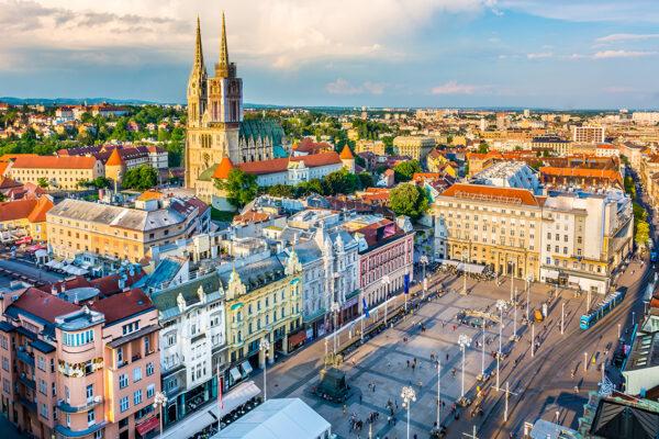 Zagreb aerial view, Croatia capital town