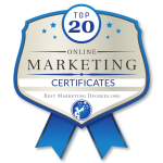 Top 20 Online Marketing Certificates Badge