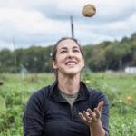 Elizabeth Downey juggling potatos