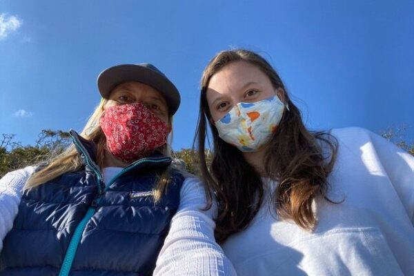 Camille and Leigh wearing masks