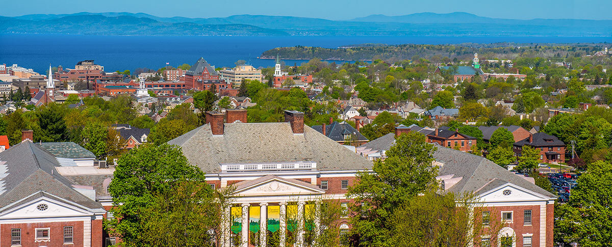 UVM campus overlooking Lake Champlain in Vermont