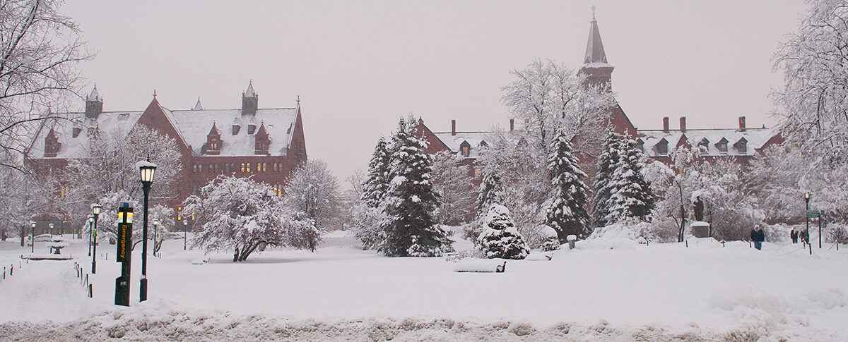 A view of UVM campus in winter