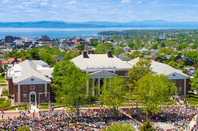 A perfect day: About 8,000 people gathered for Sunday's commencement ceremony on the UVM Green.