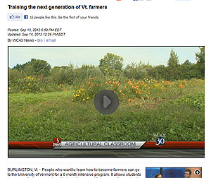 WCAX coverages of UVM training program for the next generation of sustainable and organic farmers
