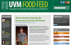 Farmer Training Program student, Andrew Bahrenburg, reflects on his experience learning organic farming at UVM.