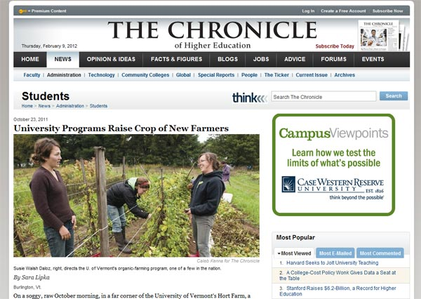 The Chronicle of Higher Education article on UVM's Farmer Training Program