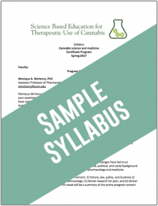 Cannabis Sample Syllabus Spring 2017